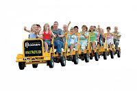 Gele fietstrein of fietstaxi welke te huur is bij Attractieverhuur Moonen